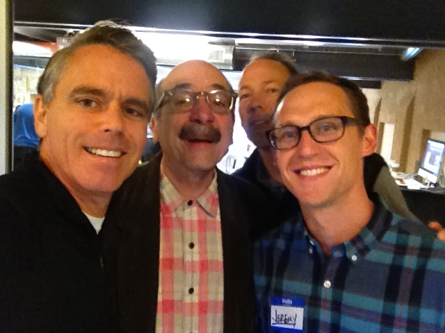 A quick selfie with David Kelley, Perry Klebahn and Jeremy Utley at the d school at Stanford University.
